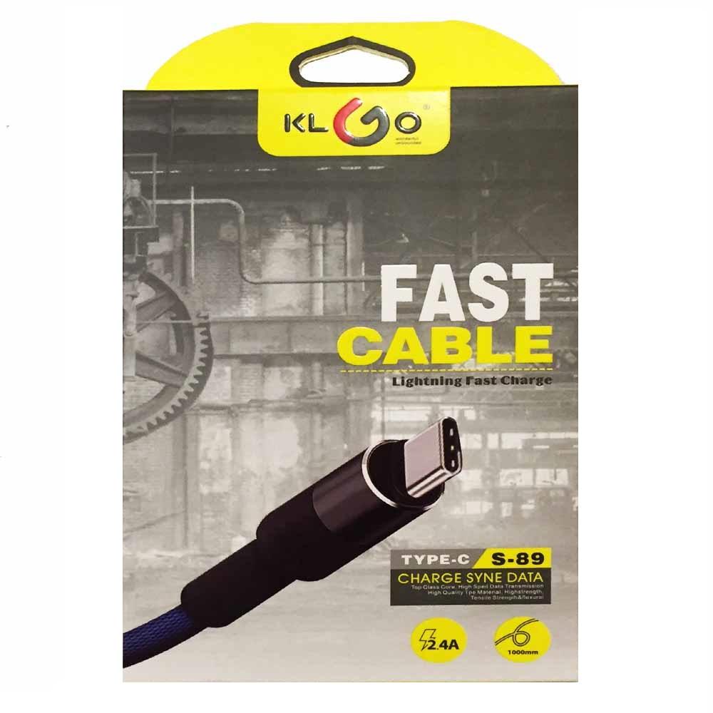 Висок клас кабел TYPE C KLGO S-89, метални жакове, здрава защитна уплетка, 2.4А, DATA