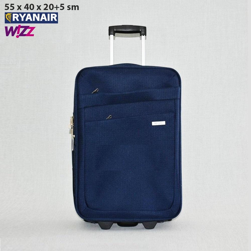 Текстилен авио куфар с разширение HQC42-1 DARK BLUE за ръчен багаж, 55х40х20 см