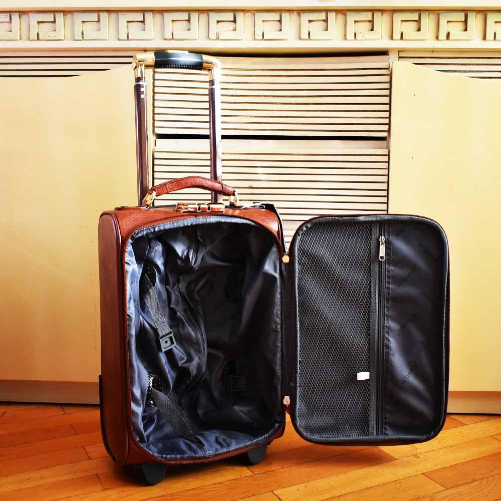 Бутиков кожен куфар за ръчен багаж PILOT HANDLE PH01 BROWN 45-30-20