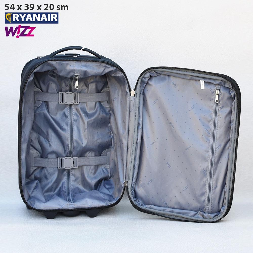 Текстилен авио куфар с разширение HQC42-1 BLACK за ръчен багаж, 55х40х20 см