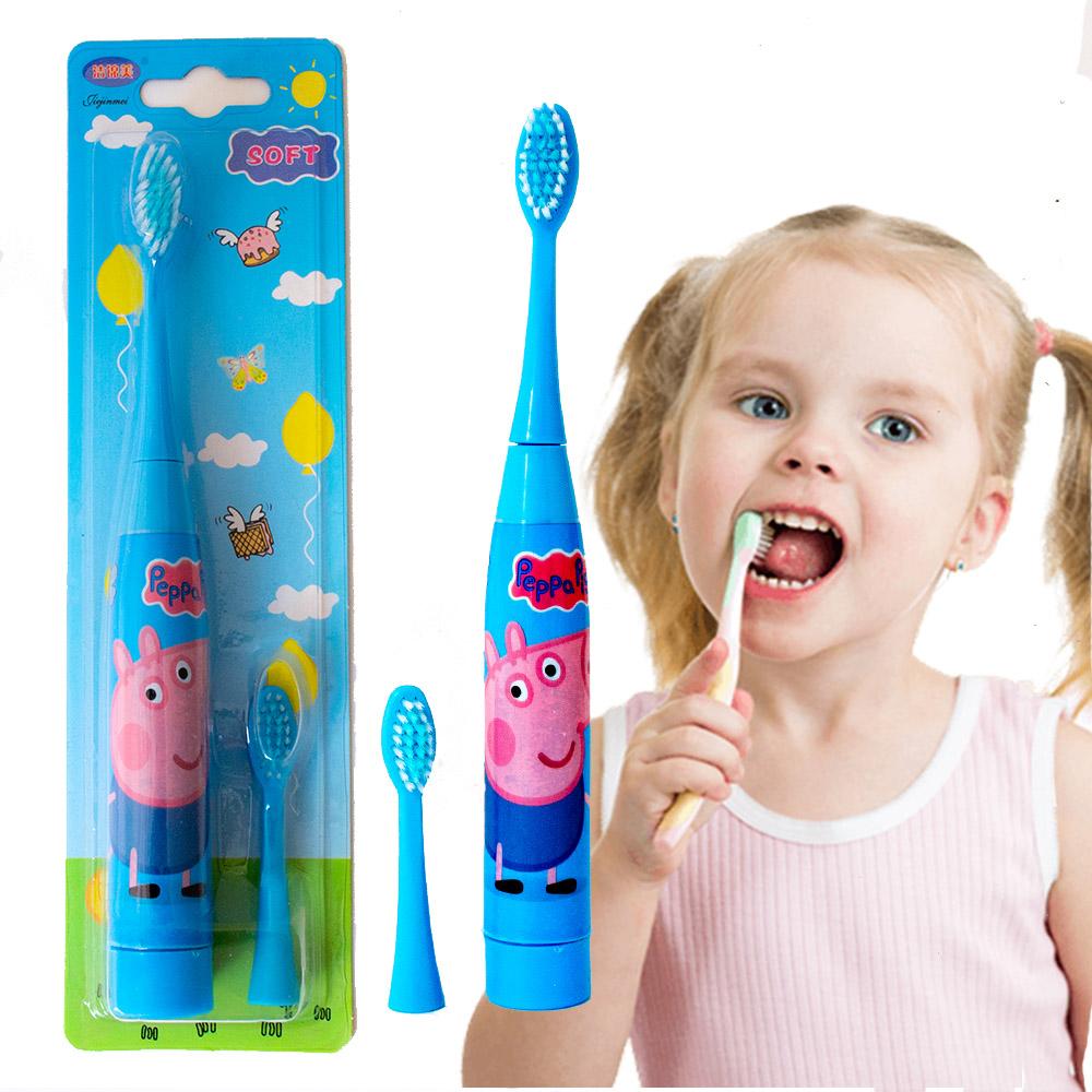 Детска ултразвукова ел.четка за зъби PEPPA с резервна глава SOFT, водоустойчива