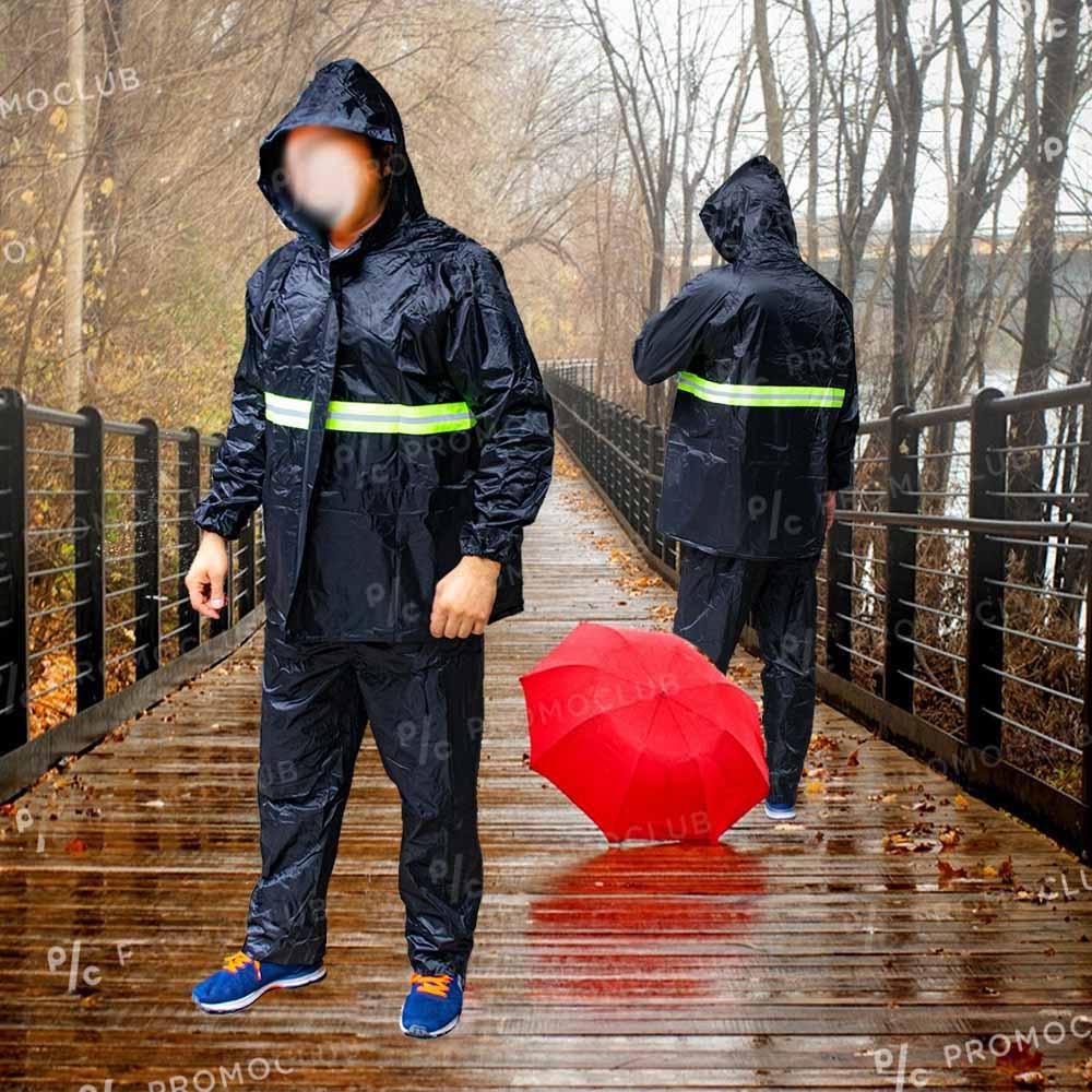 Текстилен супер дъждобран RAINCOAT в две части: панталон  и анорак, XL до 1.90м и 100 кг.