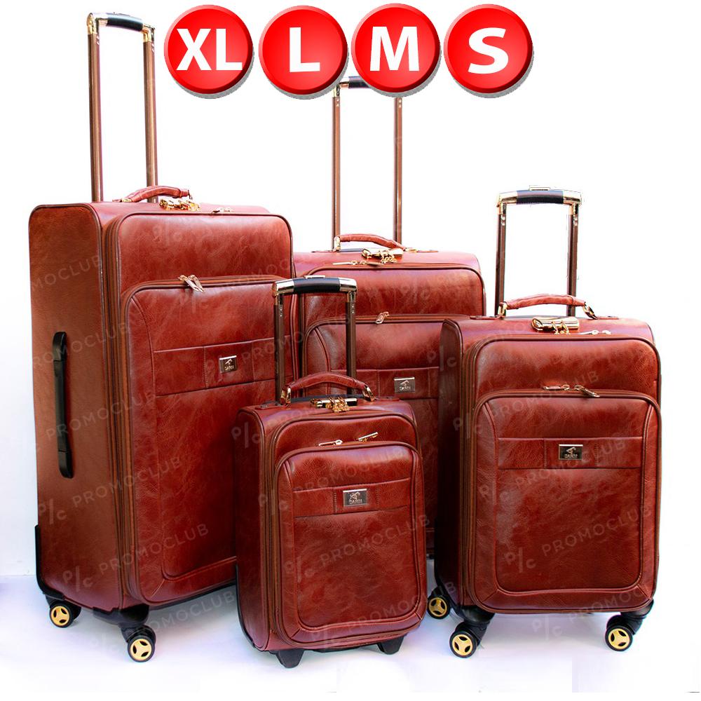 Великолепни кожени куфари DRN ALPHA BROWN, 4 броя спинъри