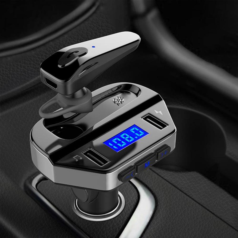 Двоен FM авто трансмитер V6 BUSINESS с HANDSFREE слушалка в комплекта, 12V/24V