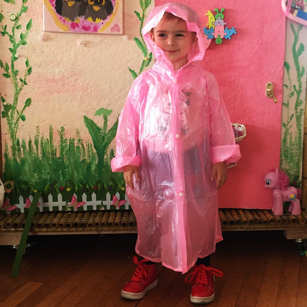 Здрав детски дъждобран за момиченца 4-10 г., розов, за многократна употреба