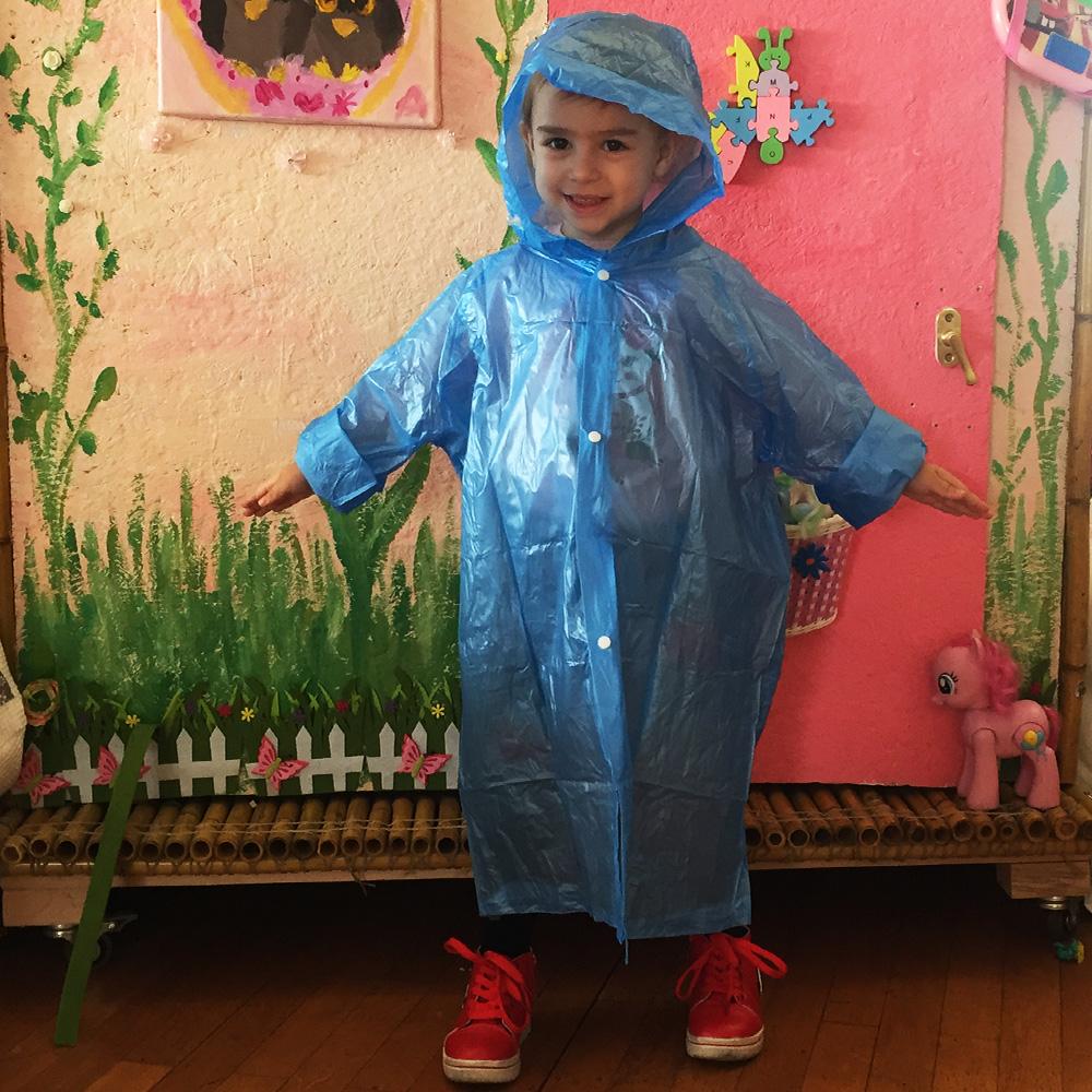 Здрав детски дъждобран за момченца 4-10 г., син, за многократна употреба