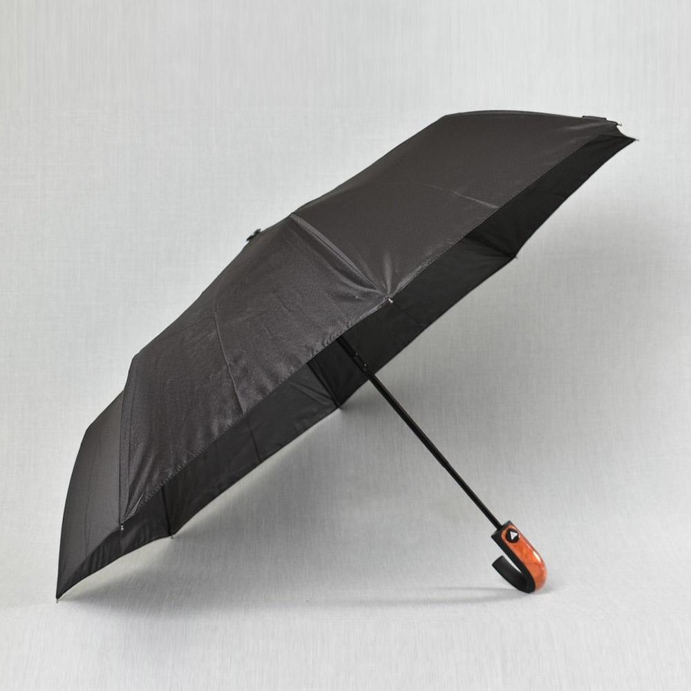 Класически мъжки чадър 310 BLACK с дебела махагонова дръжка, полуавтомат