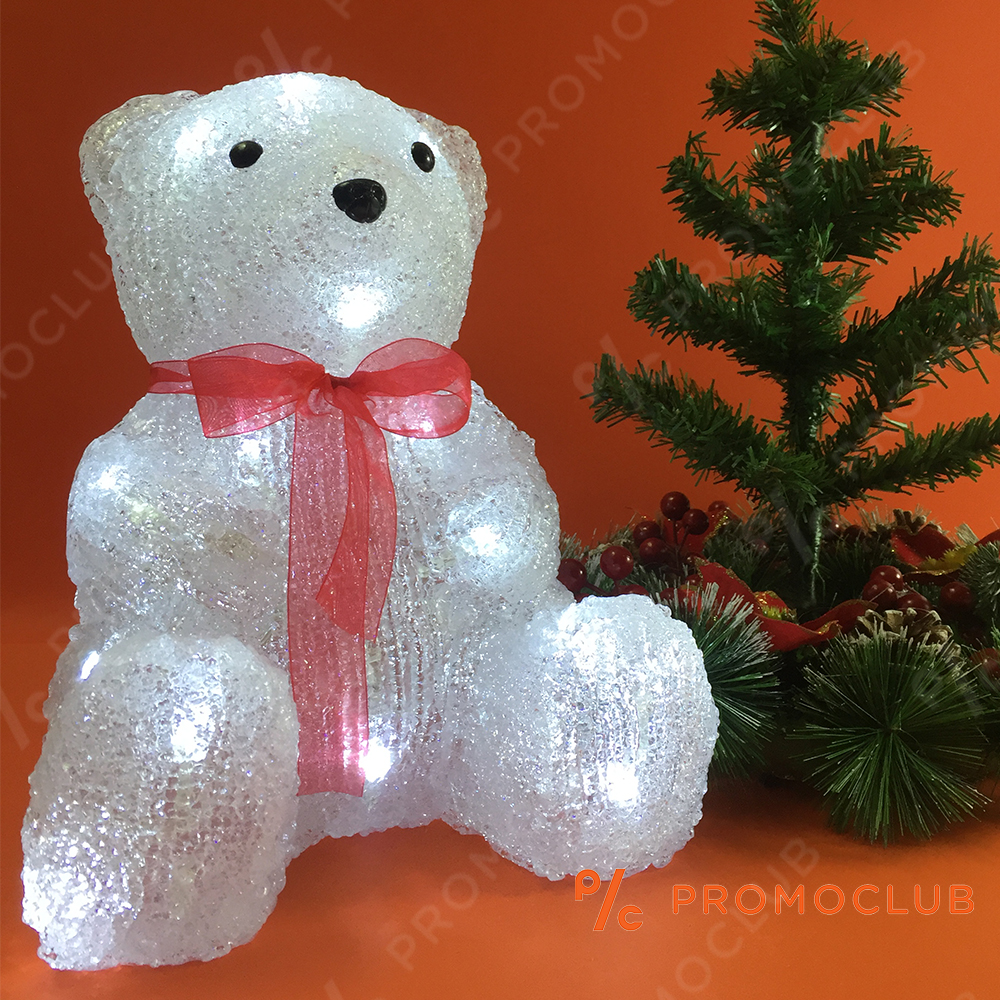 Невероятен светещ коледен мечок WHITE BEAR D15-183, 10 режима на светене, височина 32 см