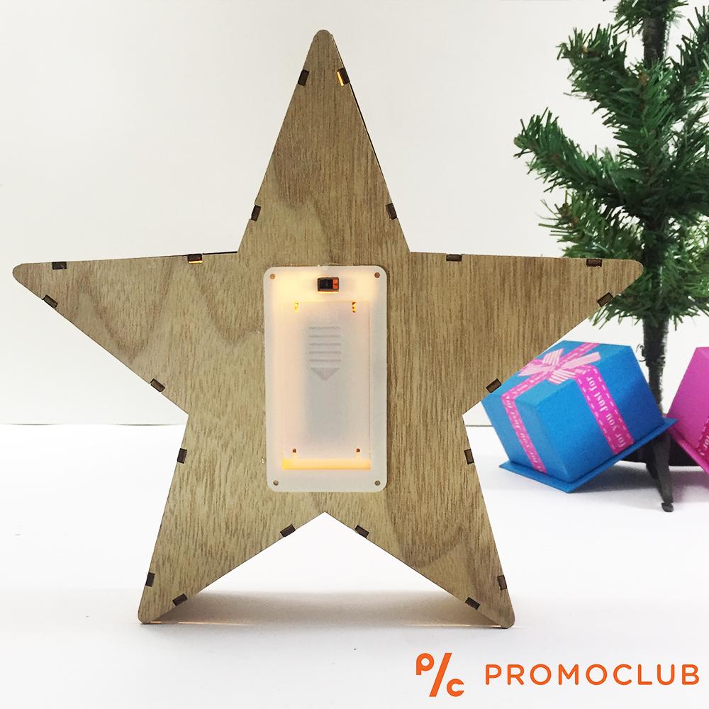 Дървен коледен LED фенер D15_213 ДЖУДЖЕ на батерии - великолепна коледна украса, 2 бат. АА