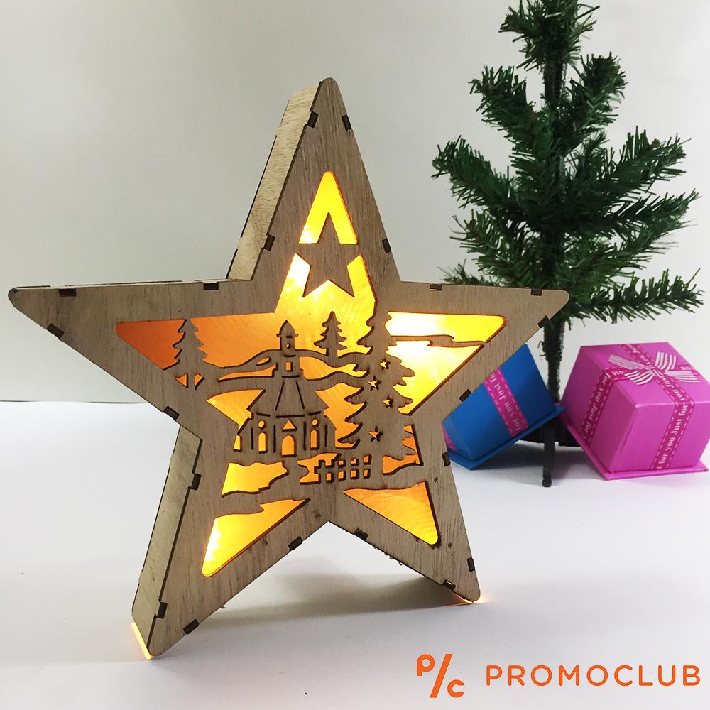 Дървен Коледен LED Фенер D15_213 ДОМ На Батерии - Великолепна Коледна Украса, 2 Бат. АА