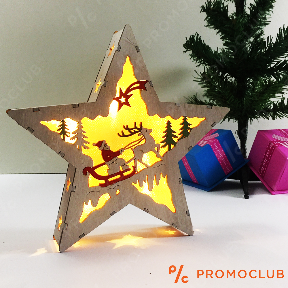 Дървен Коледен LED Фенер D15_213 SANTA CLAUS - Великолепна Коледна Украса, 2 Бат. АА