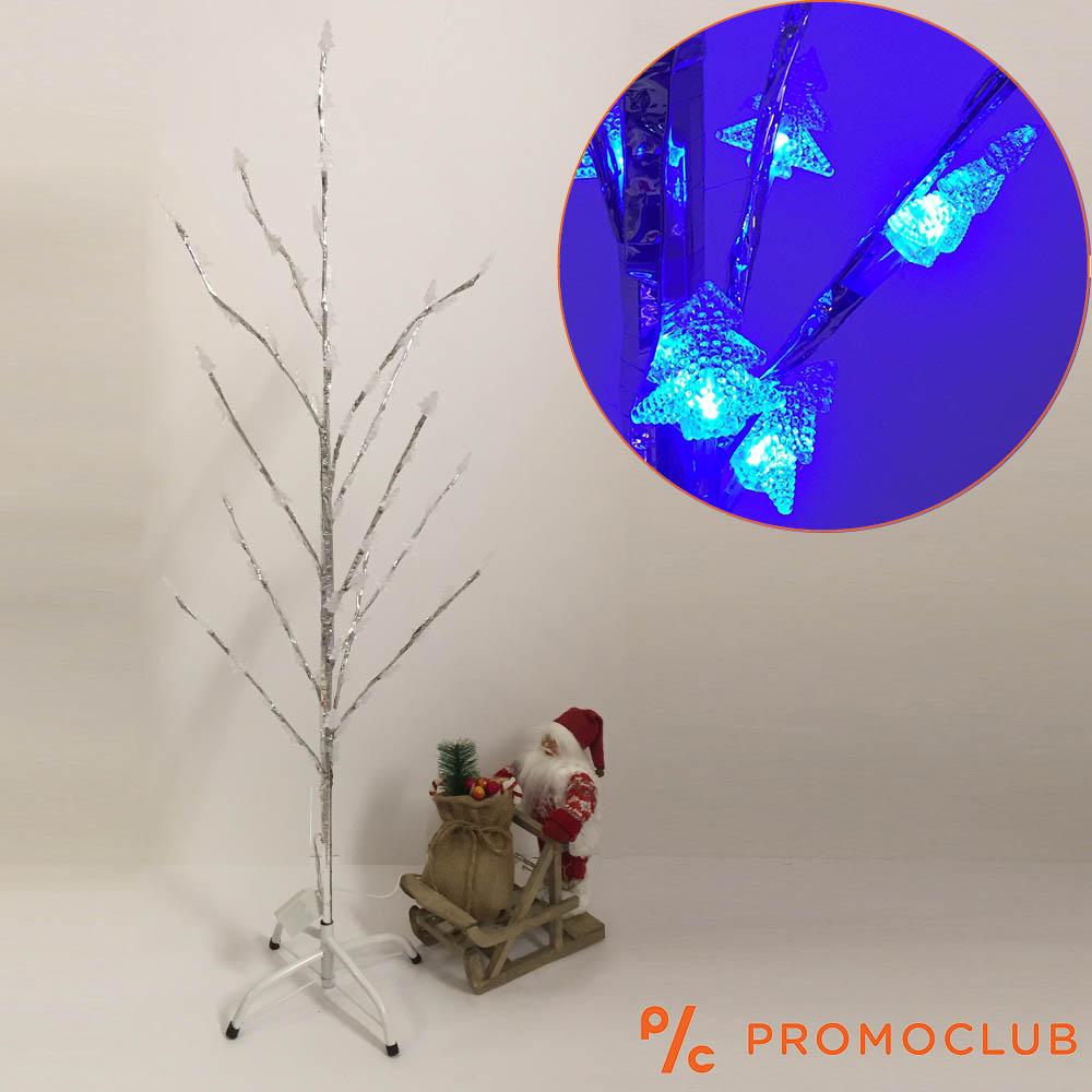 Стилна коледна елха в бяло и сребърно, сини лампички, 123 см височина, 5 режима на светене