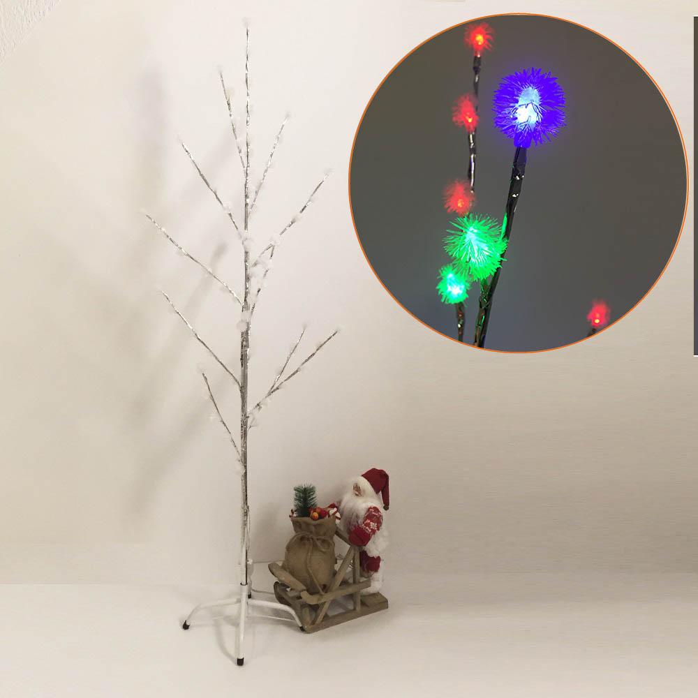 Стилна коледна елха в бяло и сребърно, весели шарени лампички, 150 см височина