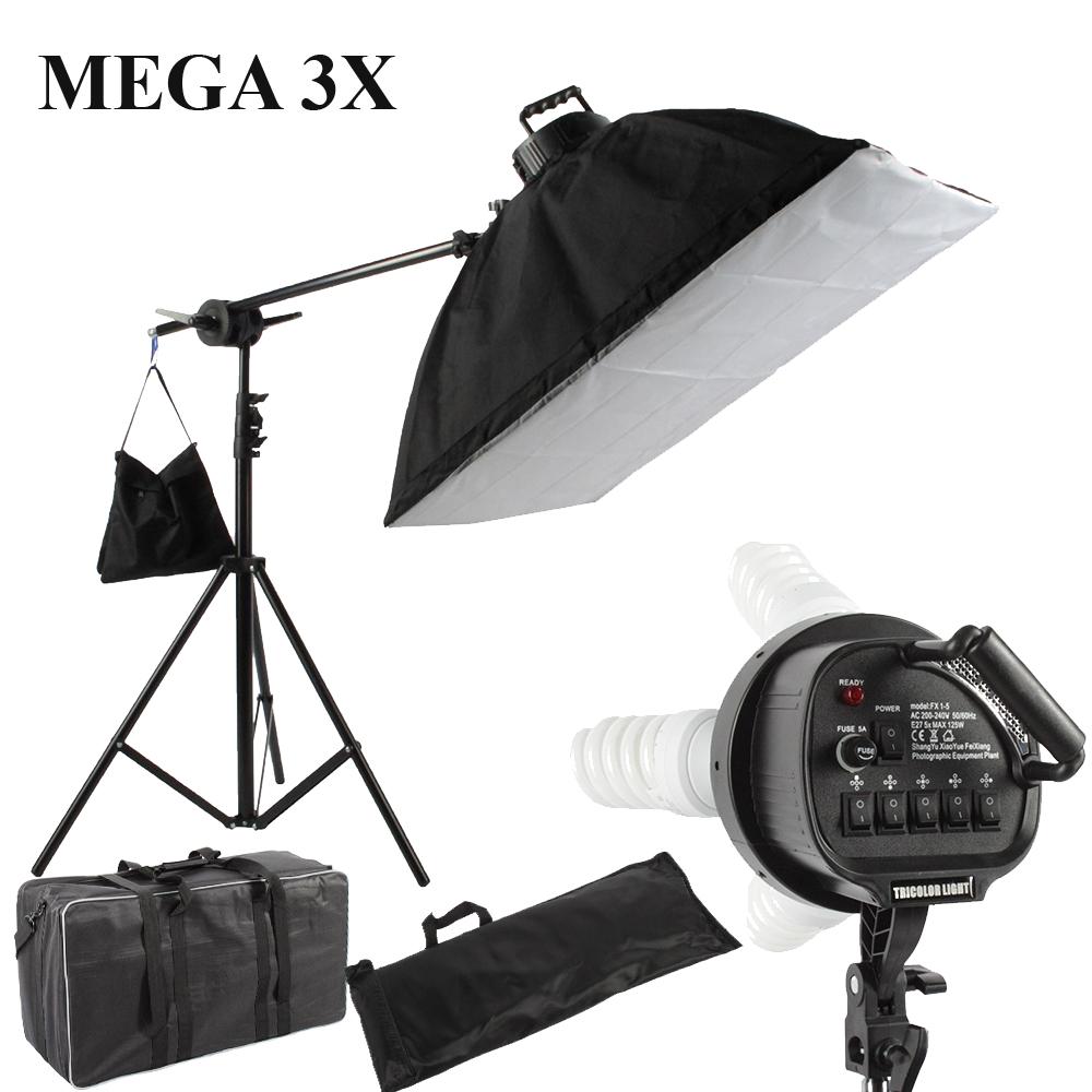 Професионално снимачно осветление - троен мега комплект 570/2850W, 5500K