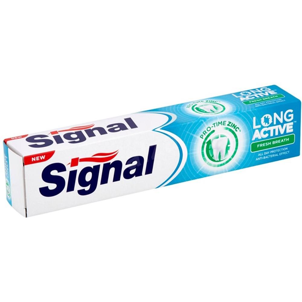 Антибактериална паста за зъби SIGNAL Long Active Fresh Breath с цинк, 24h свеж дъх