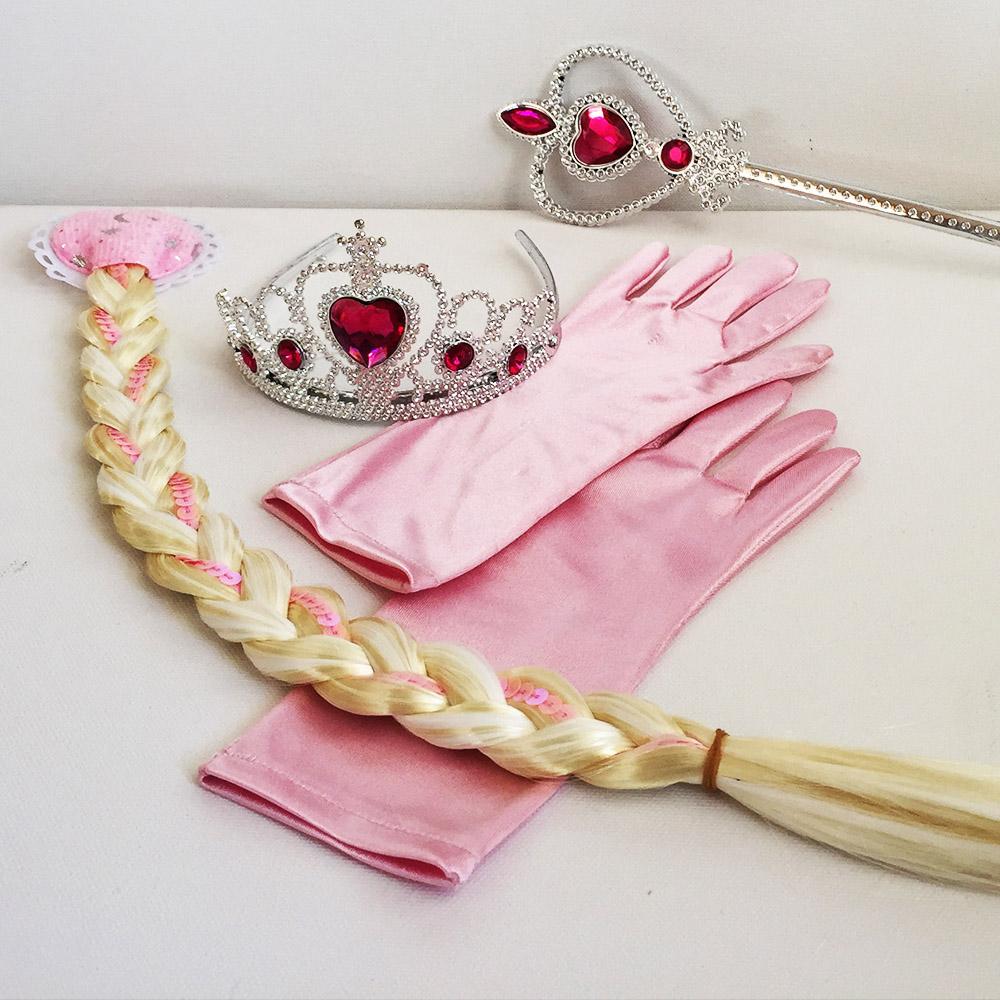 Вълшебен комплект ЕЛЗА в розово - плитка, корона, ръкавици и жезъл на FROZEN PINK