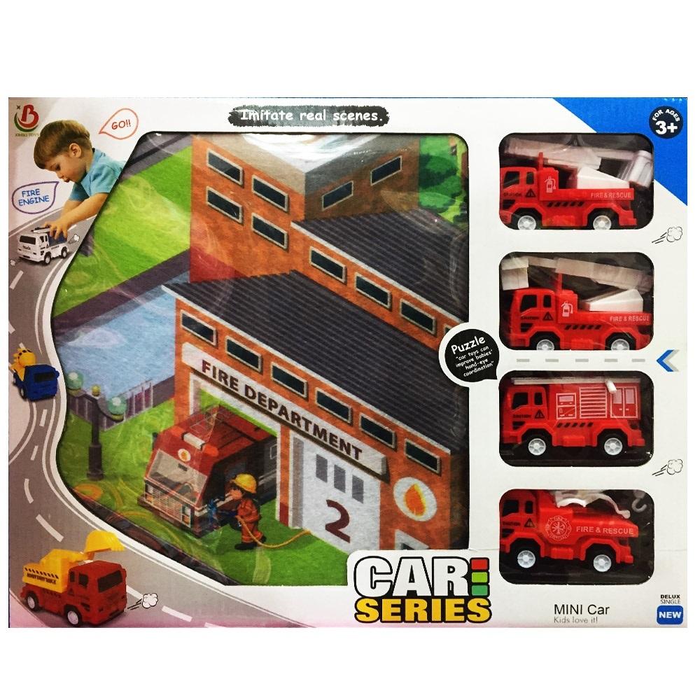Пътно килимче с 4 пожарни коли за игра на няколко деца, 80 х 70 см, 3+