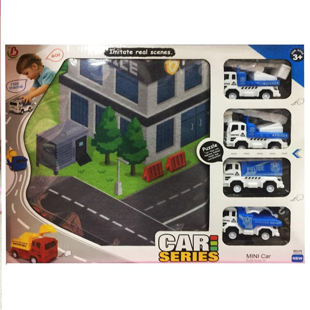 Пътно килимче с 4 полицейски коли за игра на няколко деца,  80 х 70 см, 3+