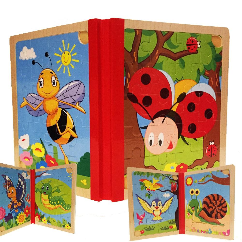 6 броя дървени пъзели - еко и в книжка, с животинки, 3+