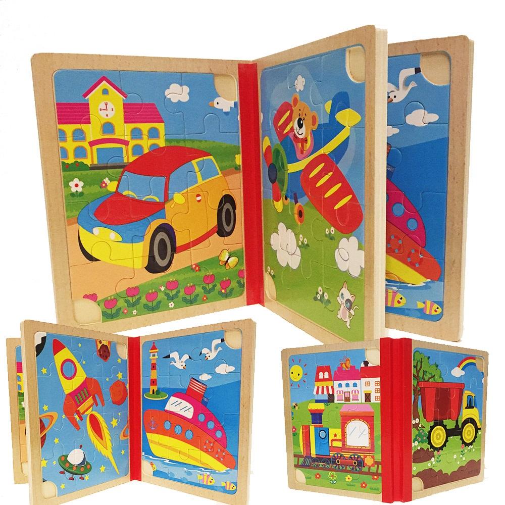 6 броя дървени пъзели - еко и в книжка, с превозни средства, 3+