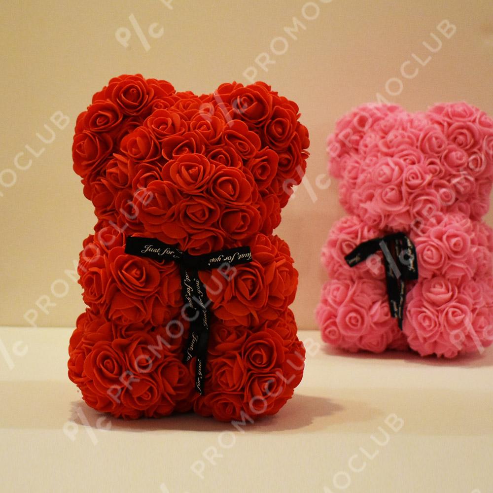 Красиво мече от рози LOVE YOU BEAR RED, FOAM пяна, 25 см