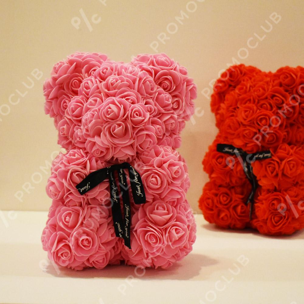 Красиво мече от рози LOVE YOU BEAR PINK, FOAM пяна, 25 см, с подаръчна торбичка