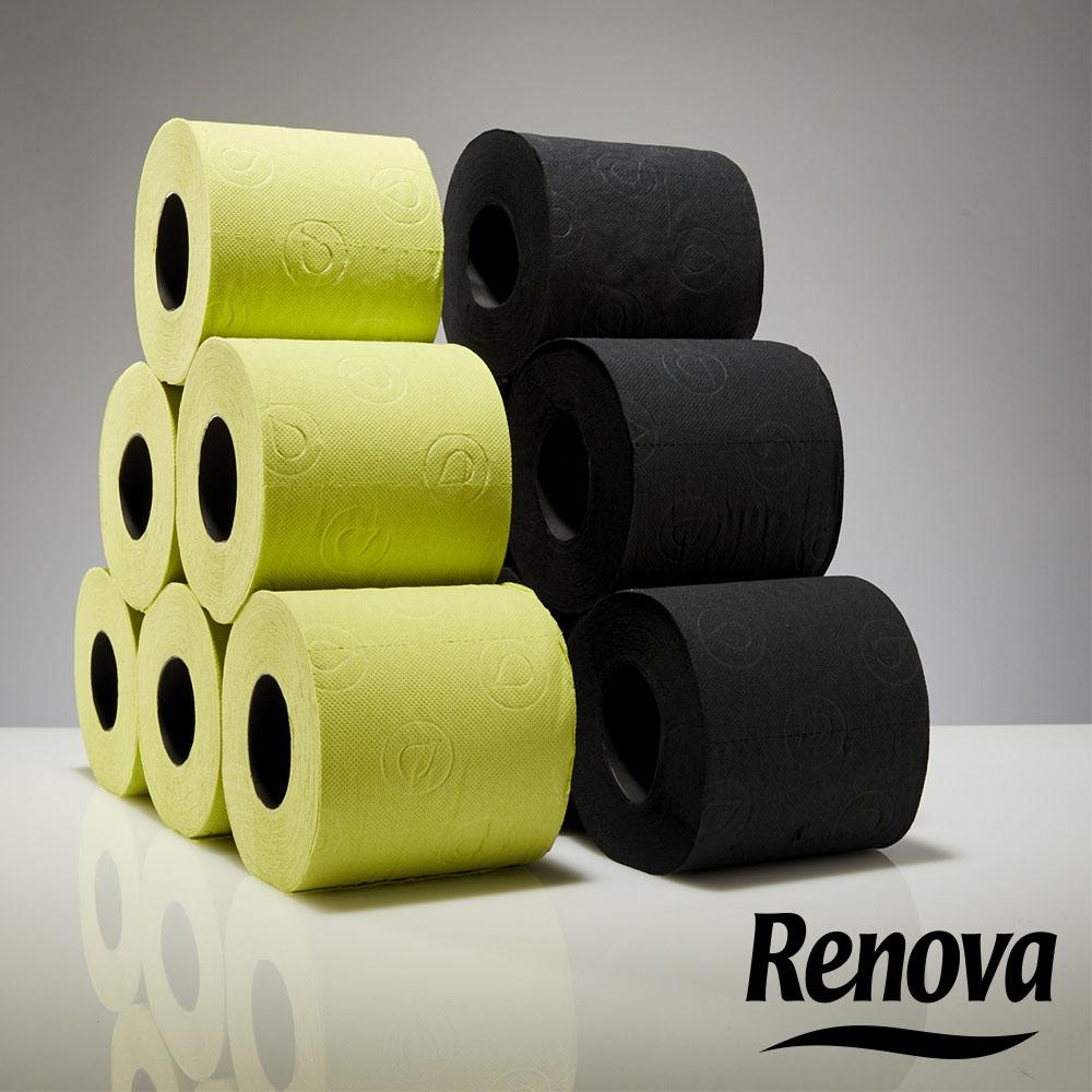 6 броя черна тоалетна хартия RENOVA, висок клас, трипластова