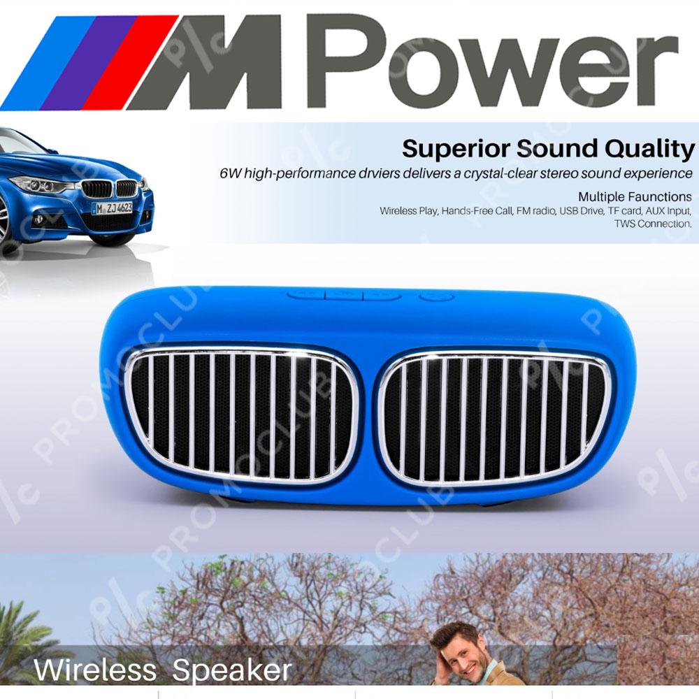 BMW DESIGN BLUE портативна тонколона, мощна с кристален звук, FM, MP3, SD, AUX