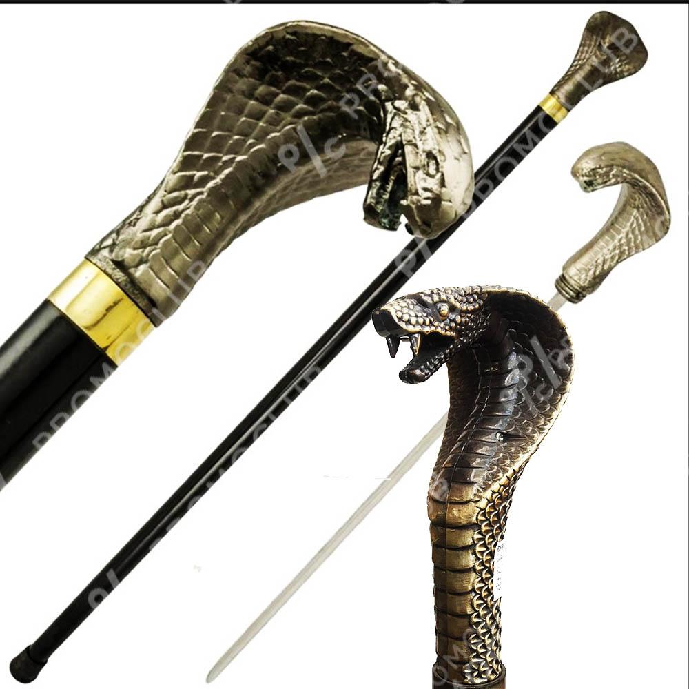 Елегантен бастун с метална дръжка ГЛАВА на КОБРА и вграден кинжал 40 см COBRA DAGA CANE