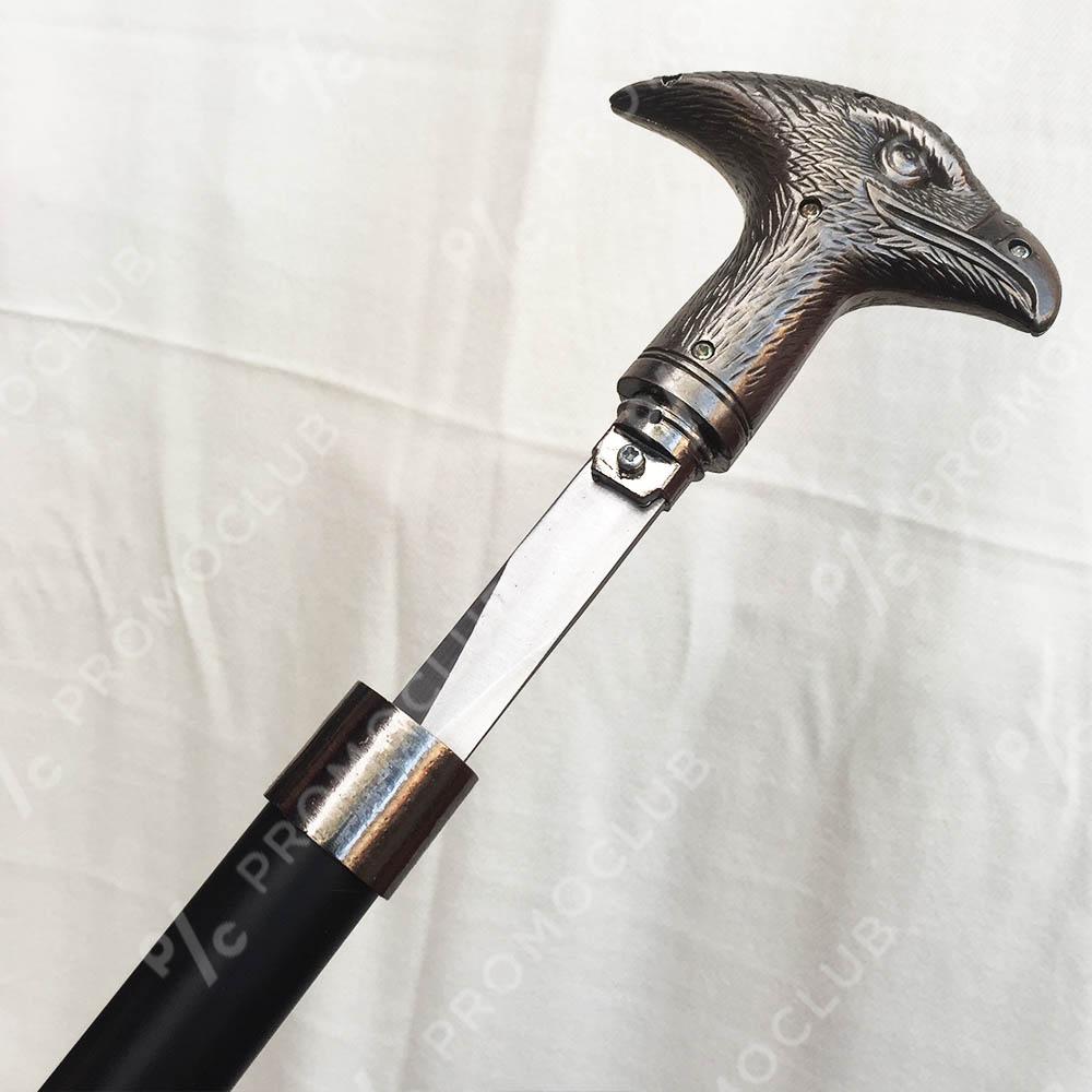 Елегантен бастун с метална дръжка ГЛАВА на ОРЕЛ и вграден кинжал 40 см EAGLE DAGA CANE