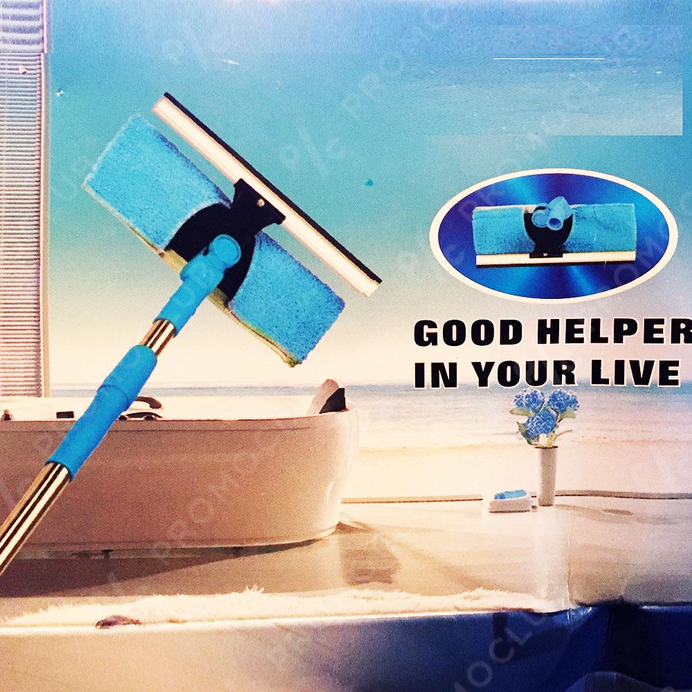 Телескопична супер четка за прозорци 2 в 1 с  чупещо рамо 360 градуса, ТОП стъклочистачка