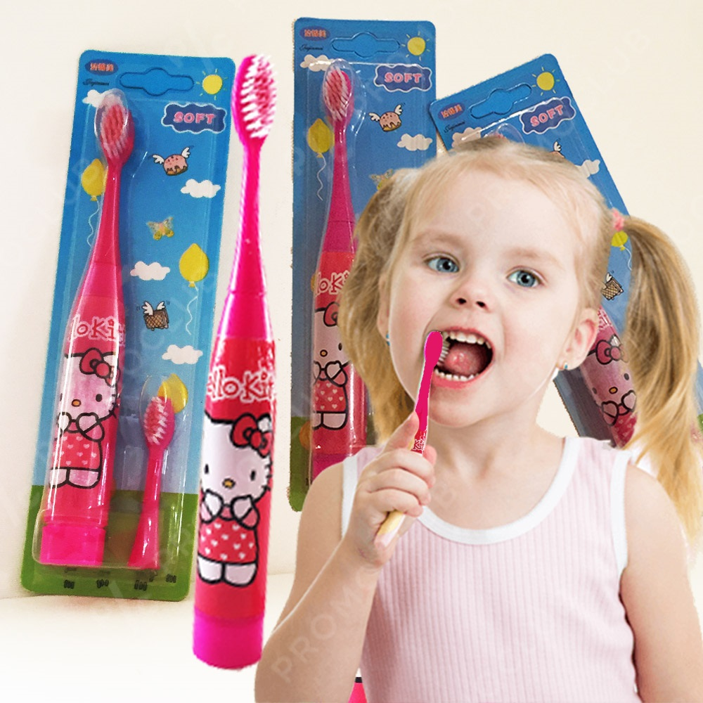Детска ултразвукова четка за зъби HELLO KITTY PINK с резервна глава SOFT, водоустойчива
