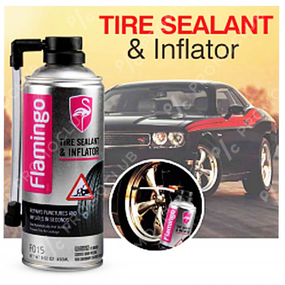 Спрей за спукани гуми FLAMINGO TIRE SEALANT & INFLATOR, никога няма да ви остави на пътя