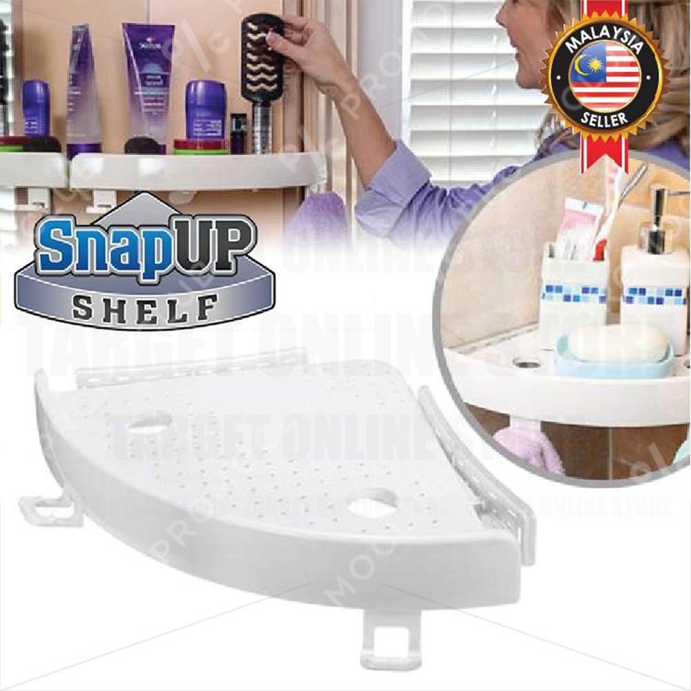 Универсален ъглов рафт SNAP UP SHELF,  23 см, закрепване без пробиване към всеки прав ъгъл