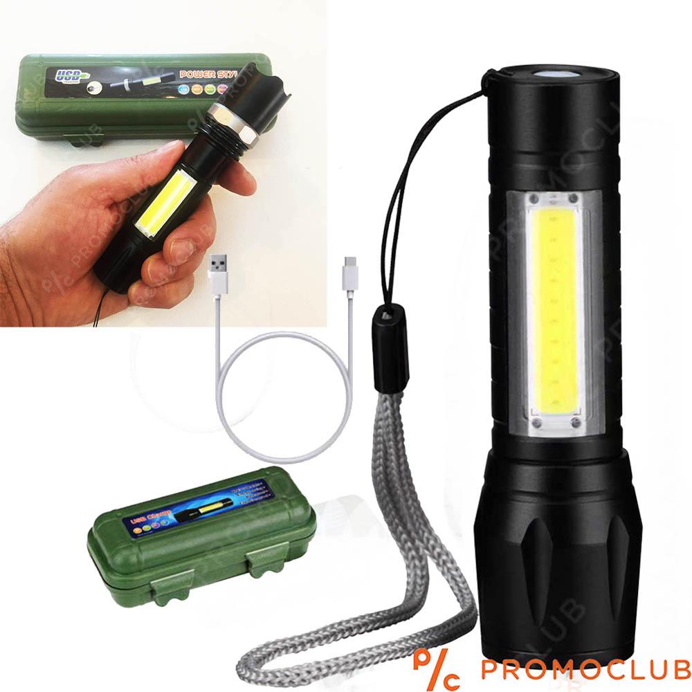 Водоустойчив LED фенер 3 в 1, метален корпус, USB презареждане и противоударна кутия