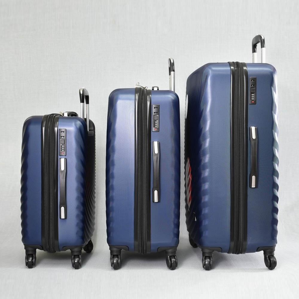 Комплект 3 броя ABS куфари ART GALERY GOYA 8077 BLUE, скрит механизъм, С РАЗШИРЕНИЕ