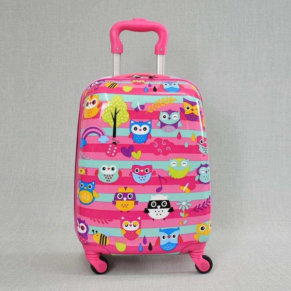 Детски куфар OWLS 31800, 4 безшумни колела, изтегляща се дръжка, поликарбон