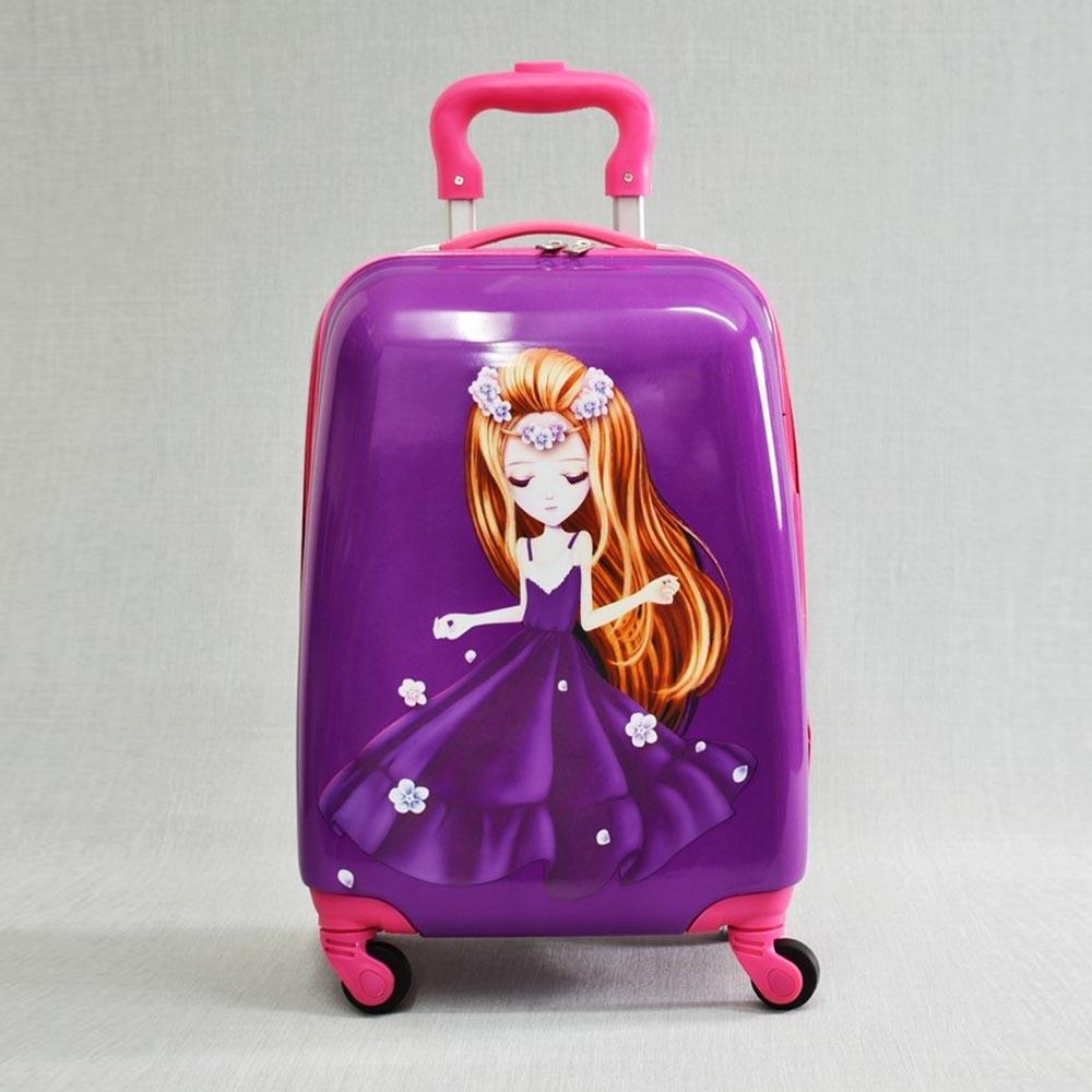 Детски куфар PURPLE FAIRY 31800, 4 безшумни колела, изтегляща се дръжка, поликарбон