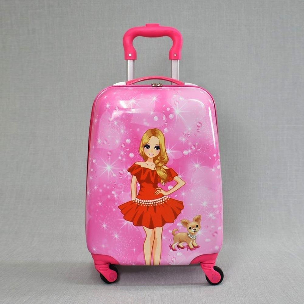 Детски куфар PINK BARBIE 31800, 4 безшумни колела, изтегляща се дръжка, поликарбон