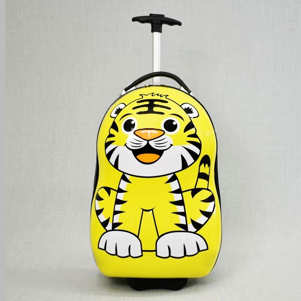 Детски поликарбонов 16-инчов куфар на колела TIGER 31799 с изтегляща дръжка за теглене