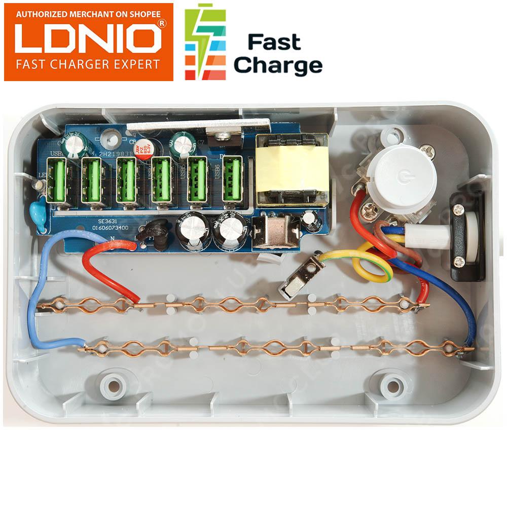 Хай-тек разклонител с 6 USB порта LDNIO SE3631 6xUSB 3.4A 3x200V