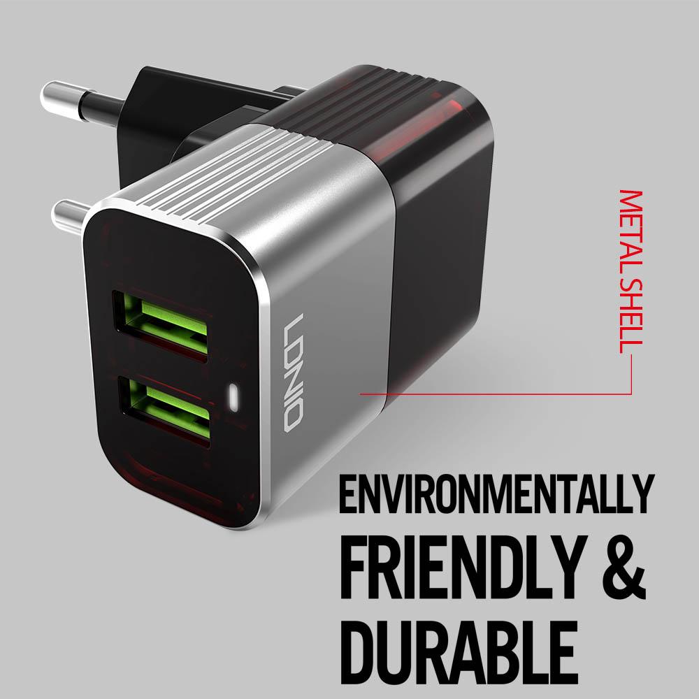 Хай-тек зарядно TYPE C LDNIO A2206, 2 USB 2.4A, кабел TYPE C