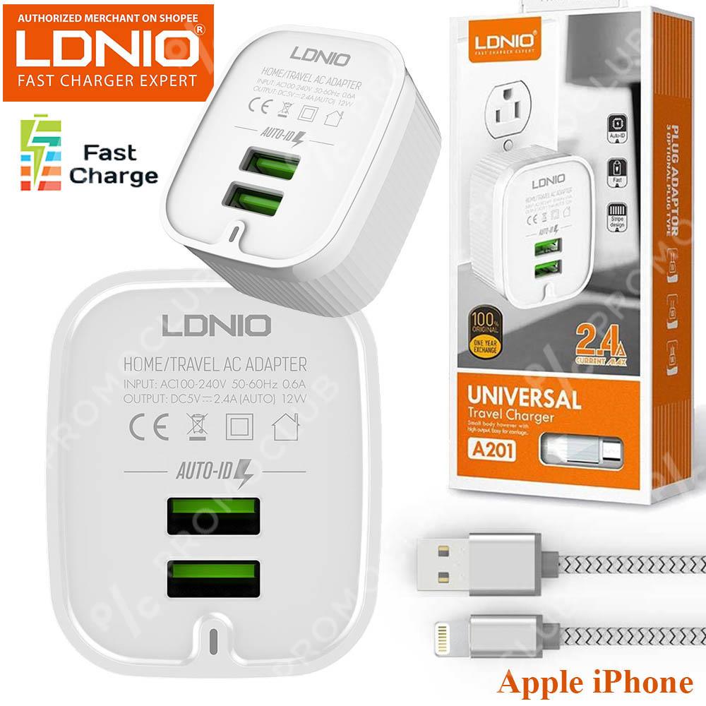 Хай-тек зарядно за Apple iPhone LDNIO A201, 2 USB 2.4A, кабел Apple iPhone