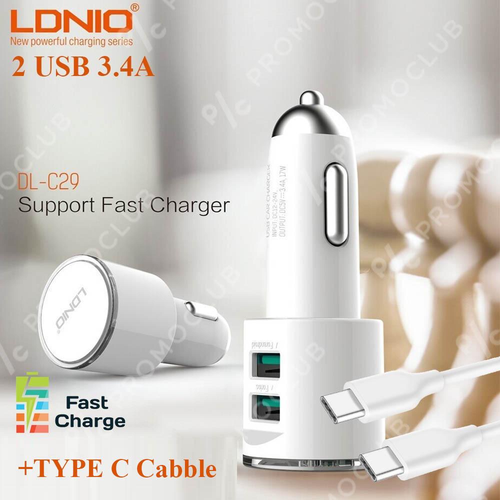 3.4A авто зарядно за LDNIO C29, 2 USB 3.4A, кабел TYPE C, 12-24V