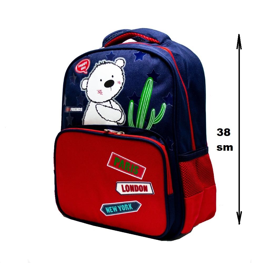 Висок клас детска раница 8029 BEAR and CATUS on RED 38 см