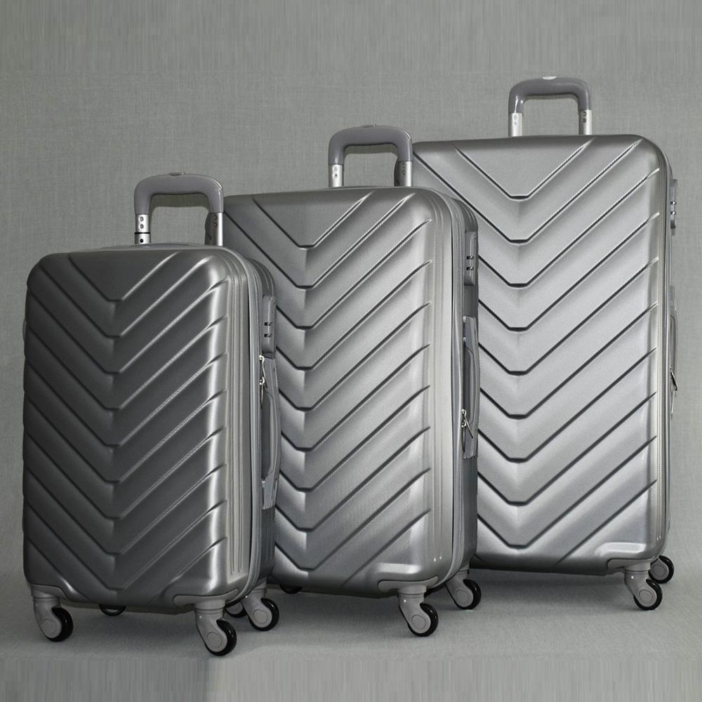 ТОП комплект ABS куфари 8072 TRAVELLER SILVER, с разширение, 4 колела