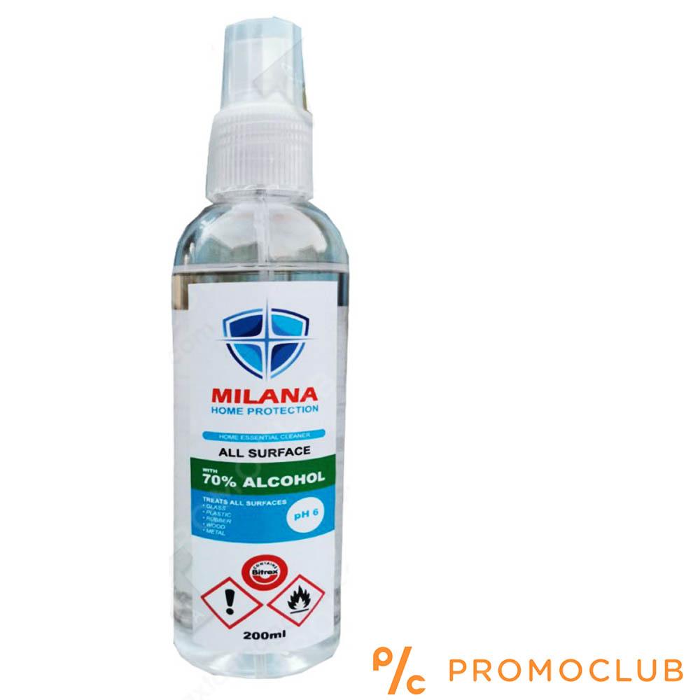 Широкопектърен дезинфектант за повърхности MILANA спрей, 200 мл, 70% алкохол