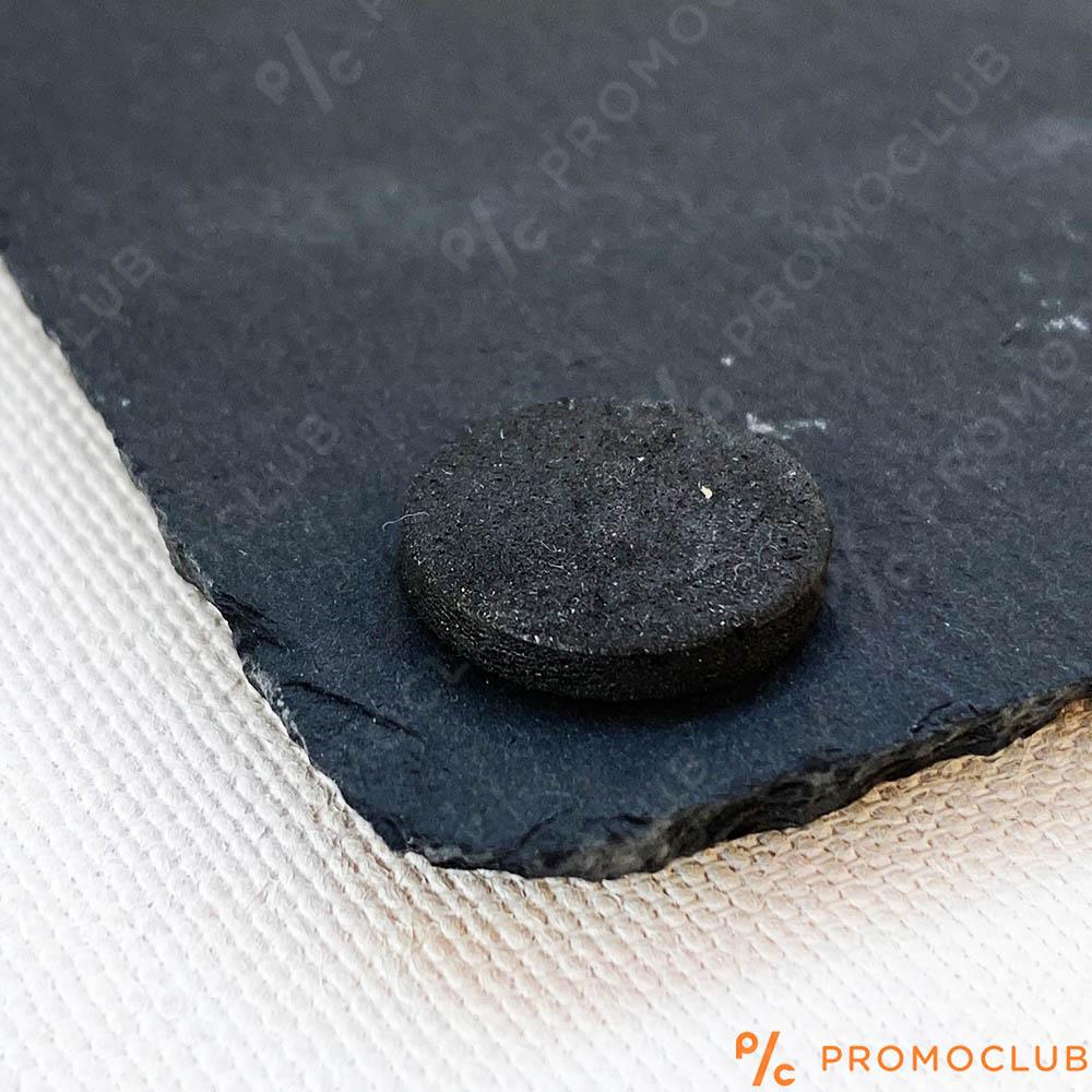 Черна каменна плоча за сервиране с метални дръжки и гумени крачета, 38 x 26 см, 1185599