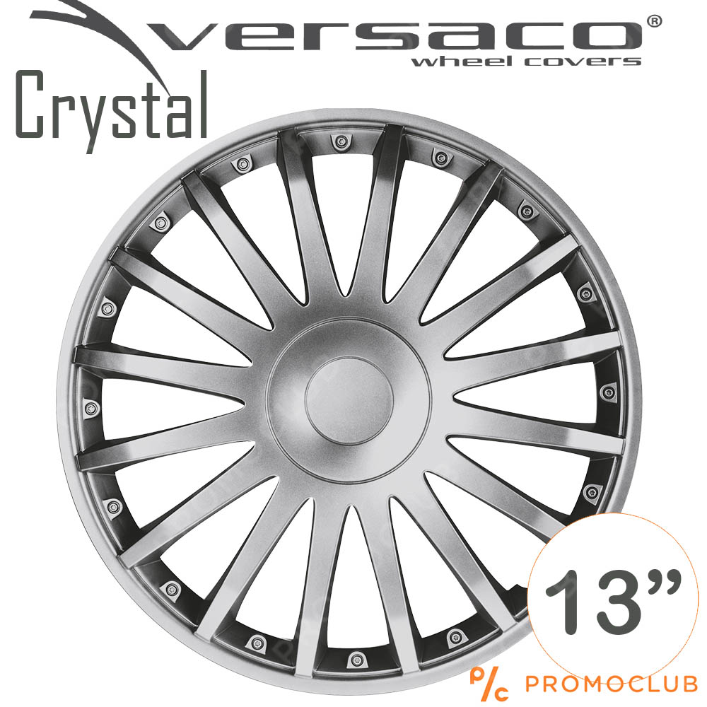 4 автомобилни тасове VERSACO CRYSTAL SILVER, размер 13 цола, висок клас