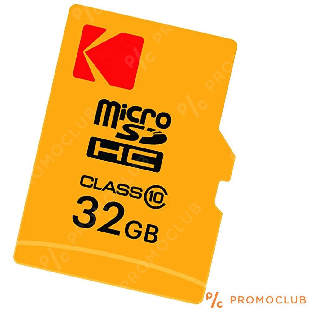 Micro SD карта памет KODAK 32 GB CLASS 10 на четене и запис, с преходник